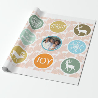 Peach Family Photo Reindeer Christmas Merry Bright Wrapping Paper