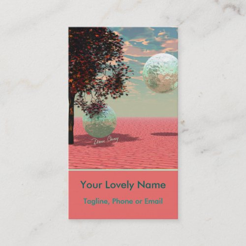 Peach Fantasy, Teal and Apricot Maple Tree Retreat Business Card