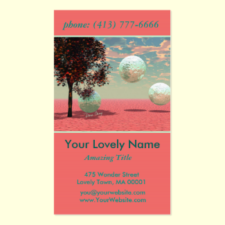 Peach Fantasy, Teal and Apricot Maple Tree Retreat Double-Sided Standard Business Cards (Pack Of 100)