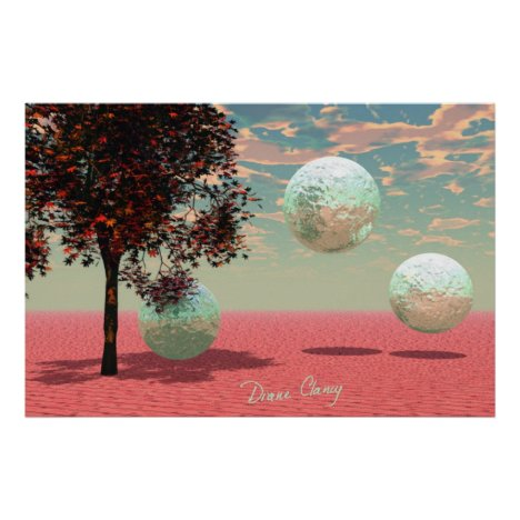 Peach Fantasy – Teal and Apricot Retreat Poster