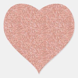 Peach Faux Glitter Heart Sticker
