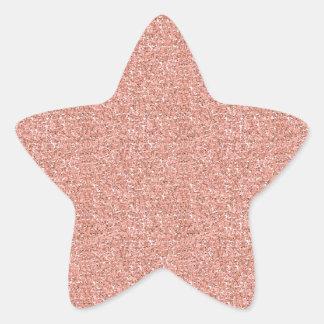 Peach Faux Glitter Star Stickers