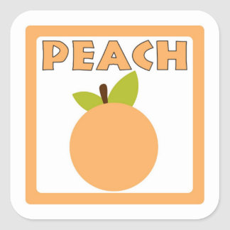 Peach flavor square sticker labels