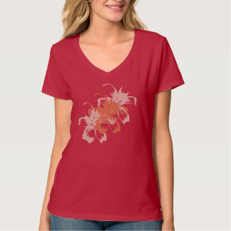 Peach Floral Abstract T-shirt