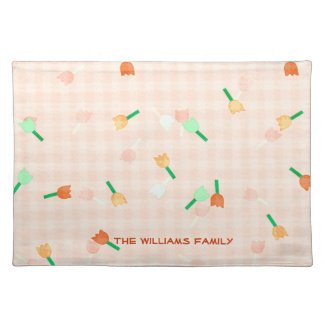 Peach Floral and Checked Place Mat