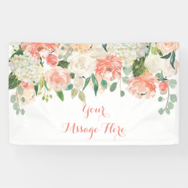 Toddler & Baby themed Peach Floral Baby Shower Banner