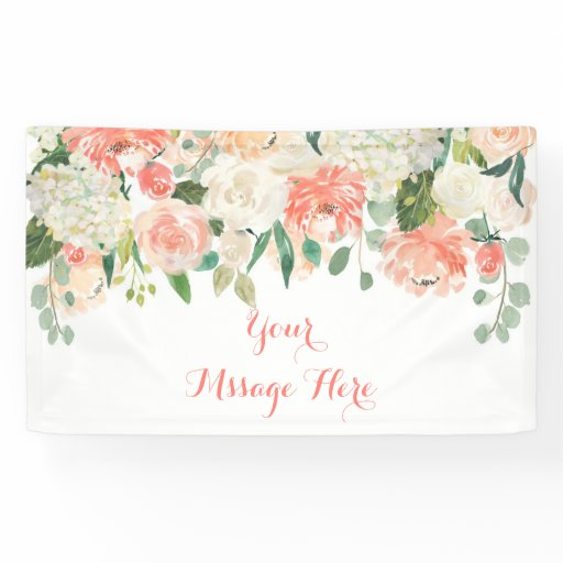 Peach Floral Baby Shower Banner