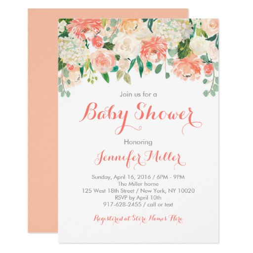 Peach Floral Baby Shower Invitations