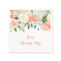 Peach Floral Baby Shower Napkin