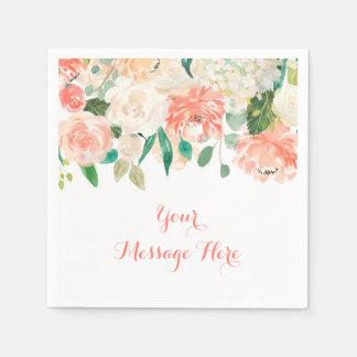 Peach Floral Baby Shower Napkin