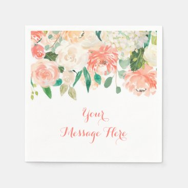 Toddler & Baby themed Peach Floral Baby Shower Napkin