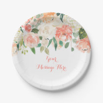 Peach Floral Baby Shower Paper Plate