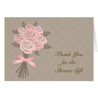 Peach Floral Bouquet Bridal Shower Thank You Card