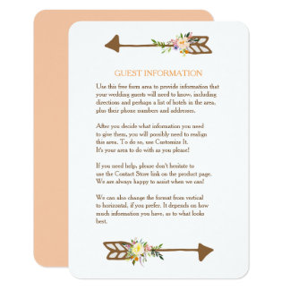 Peach Floral Bouquet Wedding Insert Card