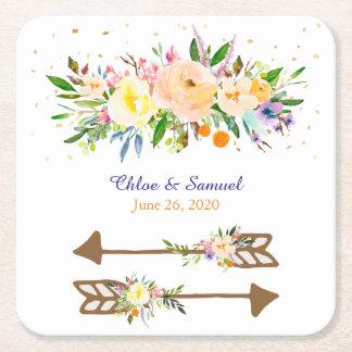 Peach Floral Bouquet Wedding Square Paper Coaster