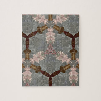 Peach Floral Brown Bamboo Abstract Asian Pattern Jigsaw Puzzle