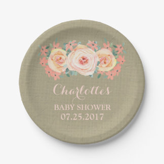 Peach Floral Burlap Baby Shower Plate