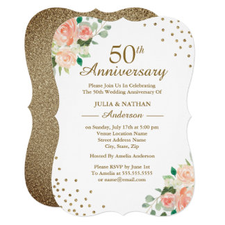 Peach Floral Confetti 50th Wedding Anniversary Invitation