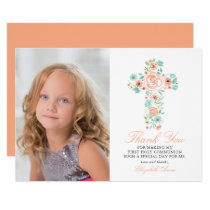 Peach Floral Cross First Holy Communion Thank You Card