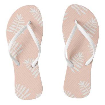 Beach Themed Peach Floral Flip Flops