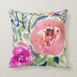 Peach Floral / Gypsy Boho Watercolor Throw Pillows