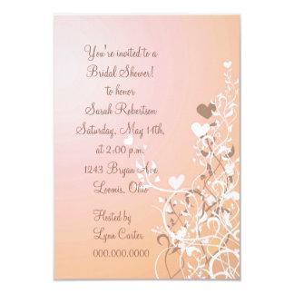 Peach Floral Heart Swirl Bridal Shower Invitation