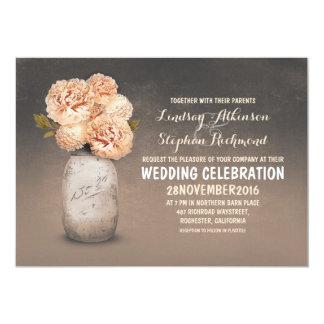 Peach floral painted mason jar wedding invitations