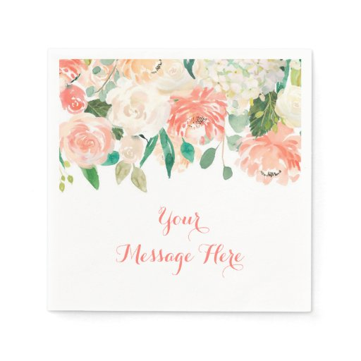 Peach Floral Personalized Napkins