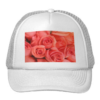 Peach floral roses trucker hat