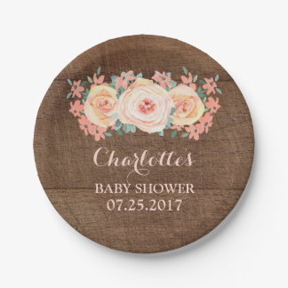 Peach Floral Rustic Wood Baby Shower Plate