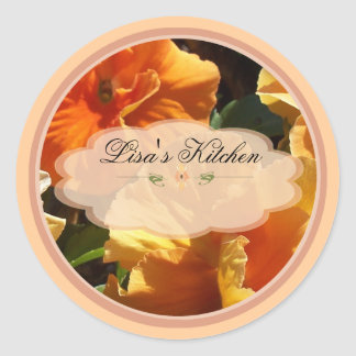 peach floral spice jar labels classic round sticker