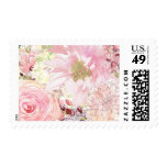 Peach Floral Stamp Postage Stamp