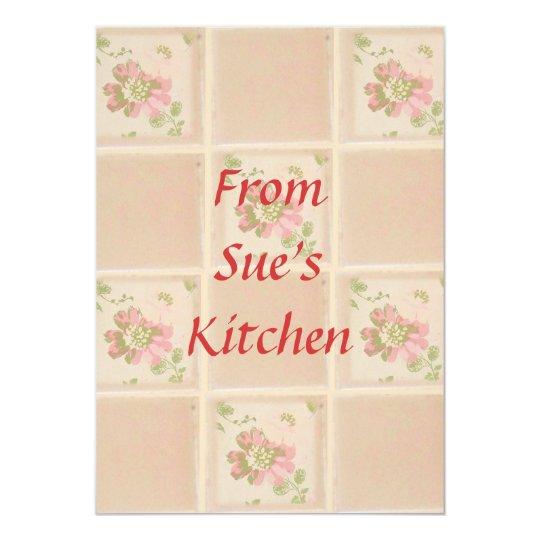 Peach Floral Tiles. Recipe Cards
