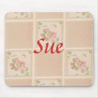 Peach Floral Tiles, Snack Mat Mouse Pad