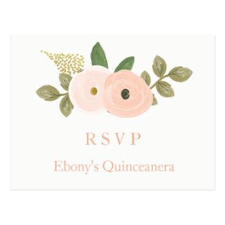 Peach Floral Watercolor Quinceanera RSVP Postcard