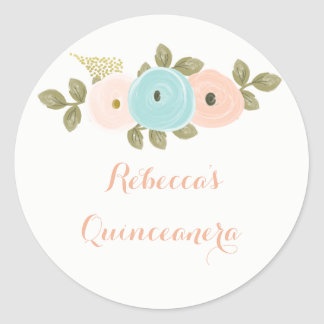 Peach Floral Watercolor Quinceanera Sticker
