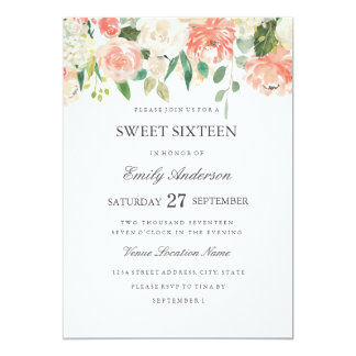 Peach Floral Watercolor Sweet Sixteen Invitation