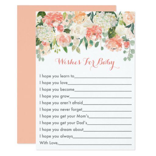 Peach Floral Wishes for Baby Card