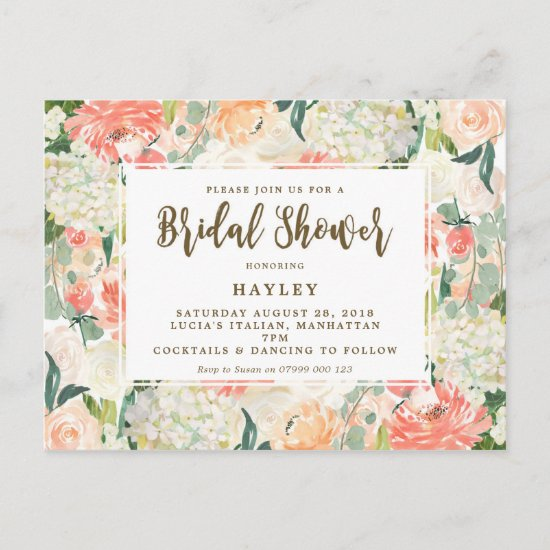 peach florals modern bridal shower invitation