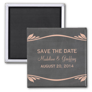 Peach Flourish Chalkboard Save the Date Magnet