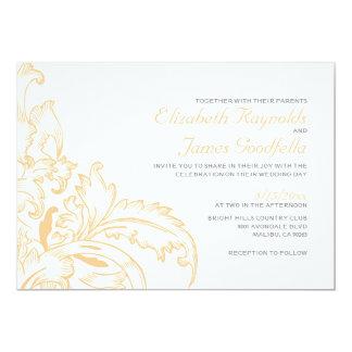 Peach Flourish Wedding Invitations