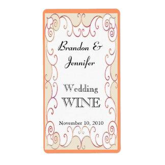 Peach Flourish Wedding Mini Wine Labels