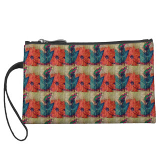 Peach Flower and Butterfly Squares Mini Clutch