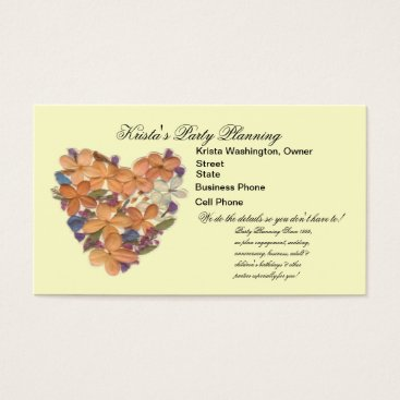 Professional Business Peach Flower Bouquet Heart Wedding Planner Card
