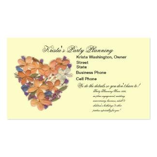 Peach Flower Bouquet Heart Wedding Planner Card Business Cards