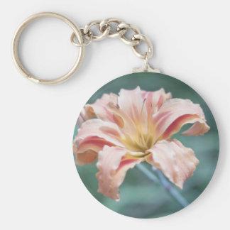 Peach Flower Photograph Keychain