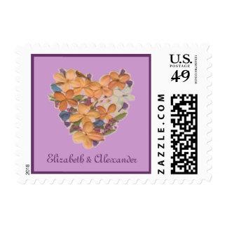 Peach Flowered Heart Wedding Anniversary Stamp
