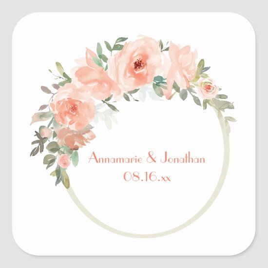 Peach Flowers Circle Frame Wedding Square Sticker