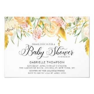 Peach Flowers & Gold Leaves Baby Shower Invitation
