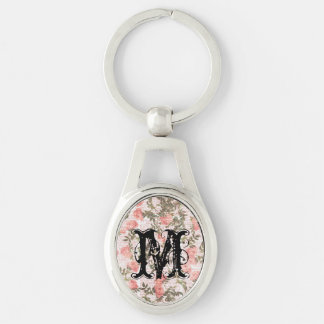 Peach Flowers on Print Background Key Chains